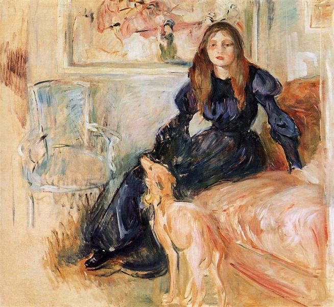 Julie Manet and her Greyhound Laerte, 1893 - Берта Моризо
