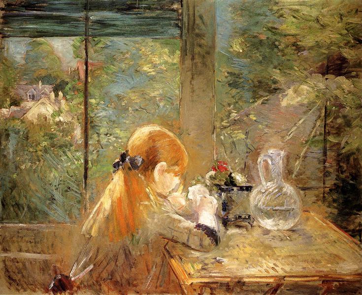 Red haired girl sitting on a veranda, 1884 - Berthe Morisot