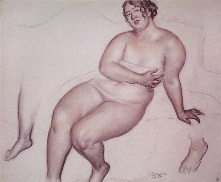 Натурщица. Правая нога, левая ступня, 1915 - Борис Кустодиев