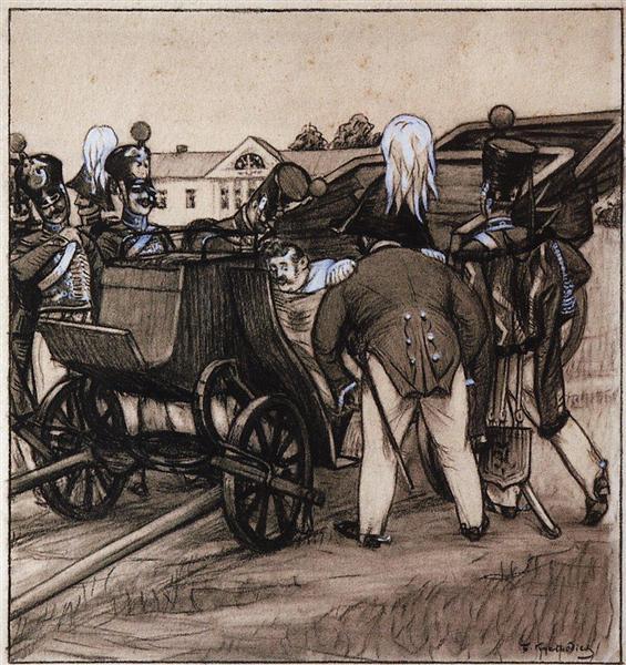 Officers near  the carriage, 1905 - Boris Kustodiev