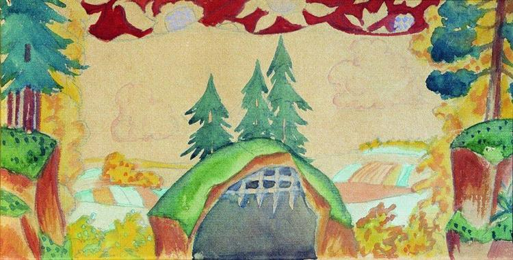 """Sketch of decorations for puppet show """"The Rooster - Gold Scallop"""", 1927 - Borís Kustódiev"""