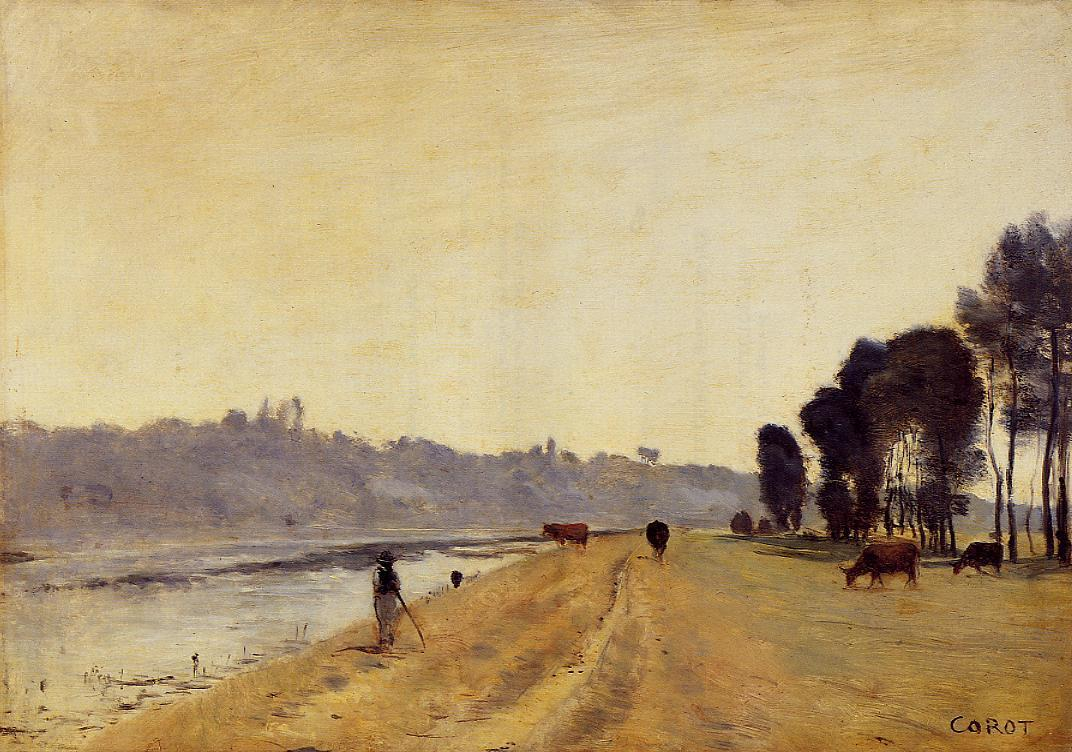 Banks of a river camille corot for Camille corot