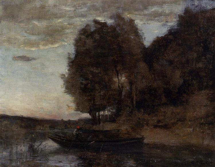 Fisherman Boating along a Wooded Landscape, c.1860 - Camille Corot