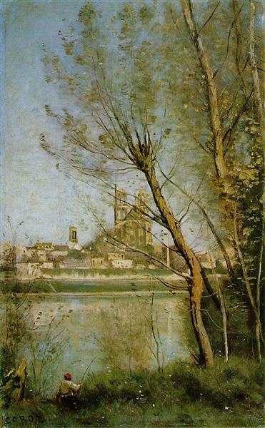 Mantes, View of the Cathedral and Town through the Trees, 1865 - 1869 - Jean-Baptiste Camille Corot