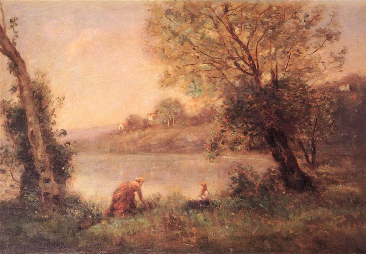 Peasant from Ville d'Avray and her Child among Two Trees at the Bank of a Pond - Camille Corot ...