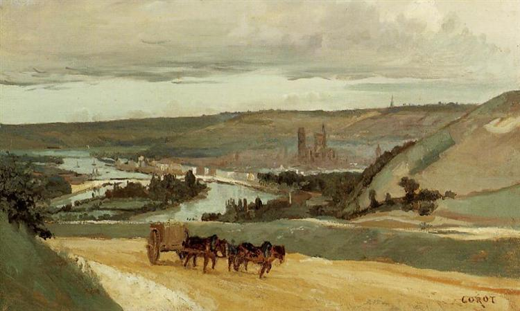 Rouen Seen from Hills Overlooking the City, c.1829 - c.1834 - Camille Corot