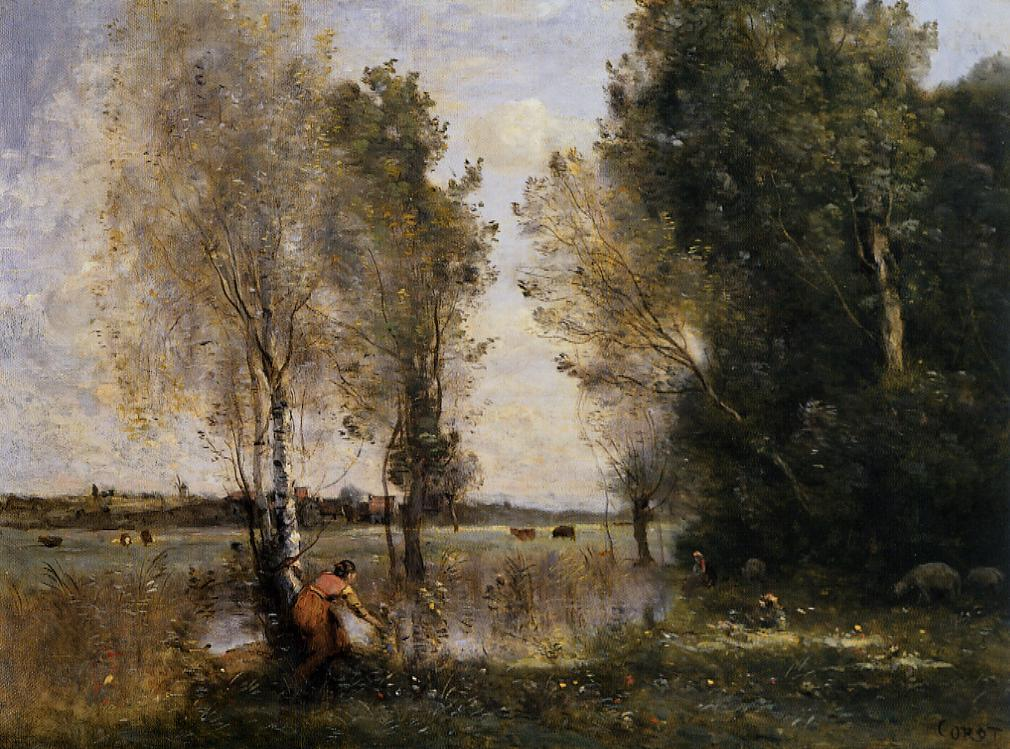 Woman picking flowers in a pasture for Camille corot