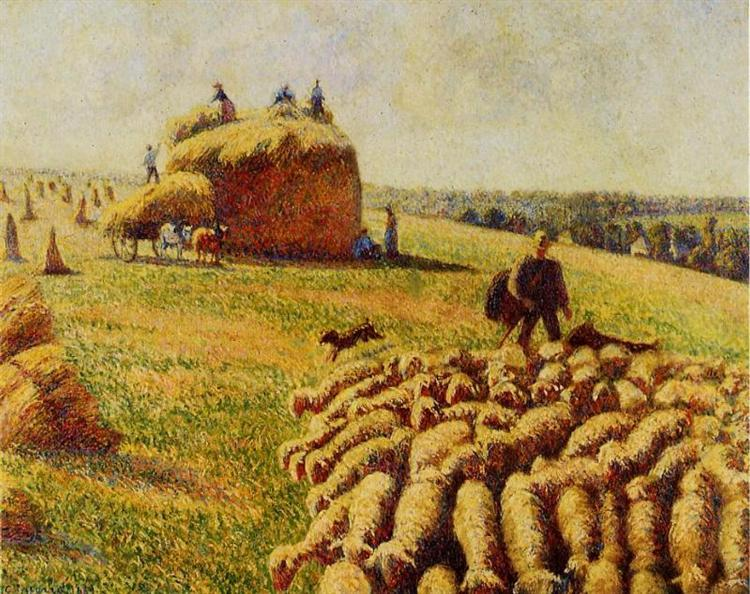 Flock of Sheep in a Field after the Harvest, 1889 - Camille Pissarro