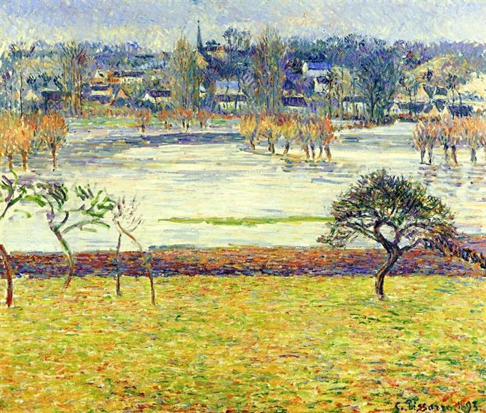 Flood, White Effect, Eragny, 1893 - Camille Pissarro