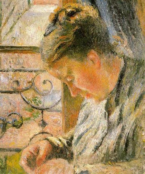 Portrait of Madame Pissarro Sewing near a Window, c.1878 - c.1879 - Камиль Писсарро