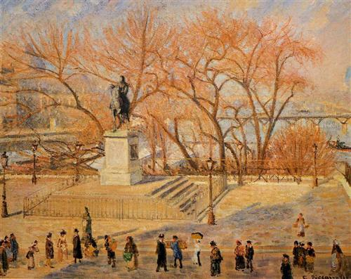 Square du Vert Galant, Sunny Morning - Camille Pissarro