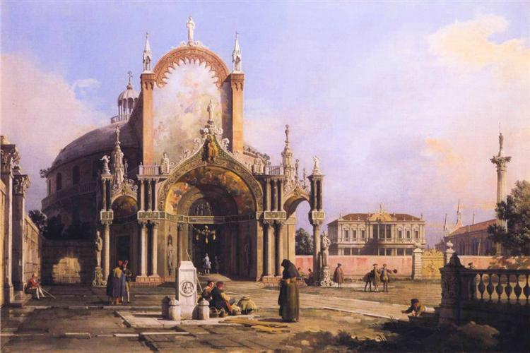 Capriccio of a Round Church with an Elaborate Gothic Portico in a Piazza, a Palladian Piazza and a Gothic Church Beyond - Giovanni Antonio Canal