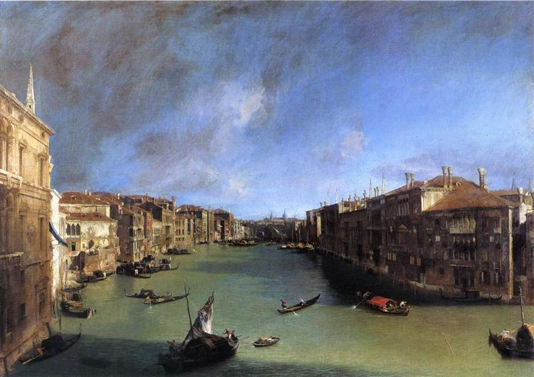 Grand Canal Looking Northeast from the Palazzo Balbi to the Rialto Bridge, c.1719 - Canaletto