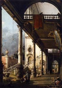 Vista prospettica con Portico - Canaletto
