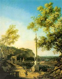 Paesaggio fluviale con colonna - Canaletto
