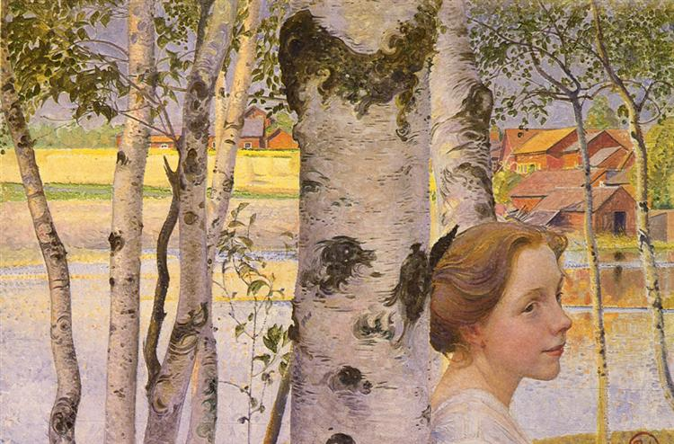 Lisbeth at the birch grove, 1910 - Carl Larsson