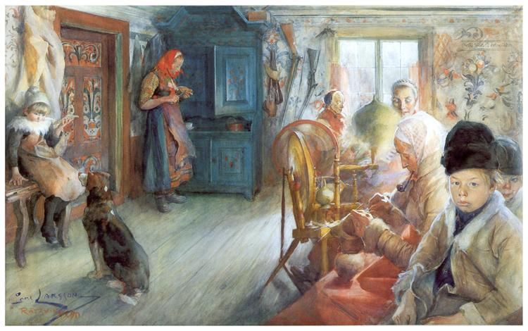 Peasant Interior in winter, 1890 - Карл Ларссон