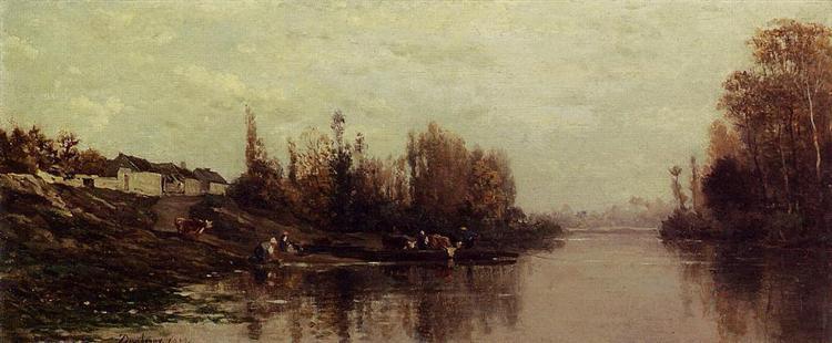 Ferry at Glouton, 1859 - Charles-Francois Daubigny