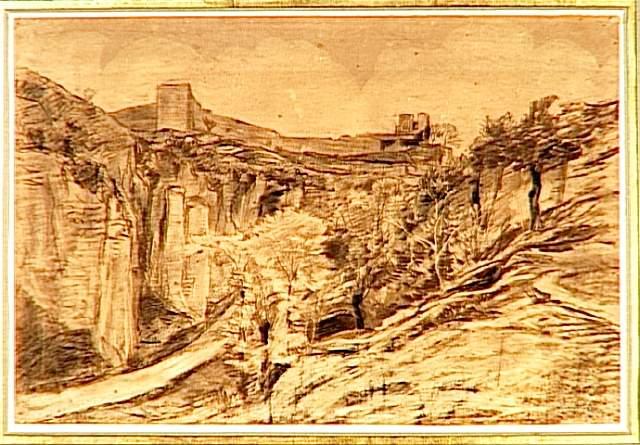 Landscape trees on the slope of a ravine - Charles-Francois Daubigny