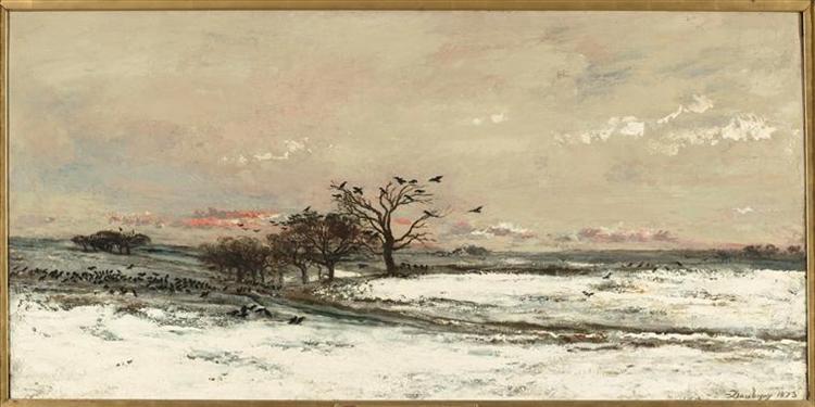 Snowy Landscape at Sunset, 1873 - Charles-Francois Daubigny