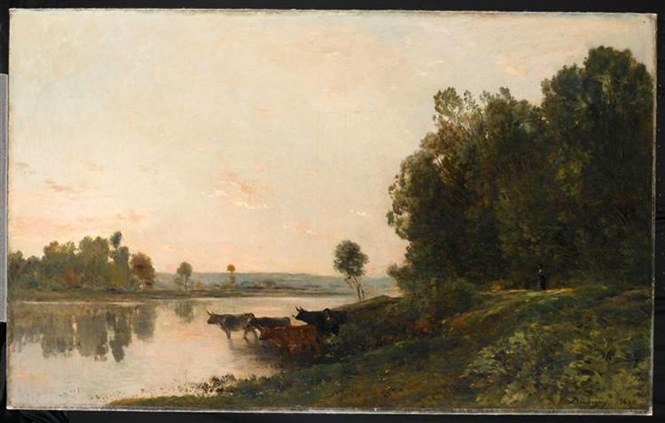 Sunrise, banks of the Oise, 1865 - Charles-Francois Daubigny