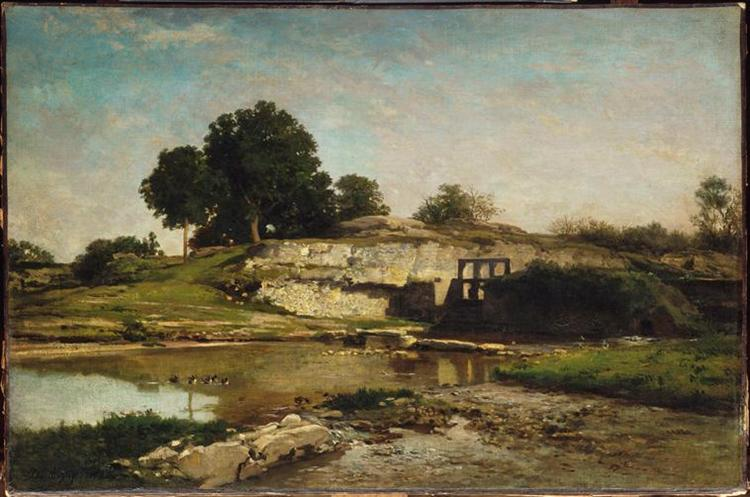 The Flood-Gate at Optevoz, 1859 - Charles-Francois Daubigny