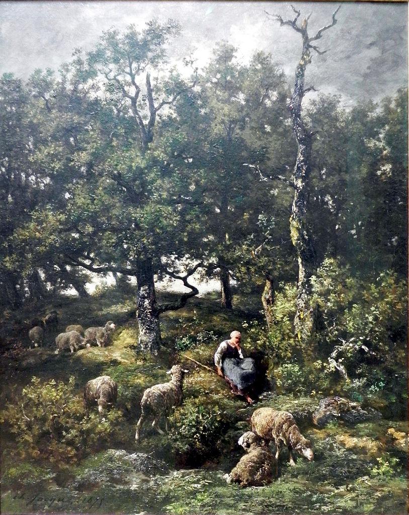 Schäferin mit Herde, 1875