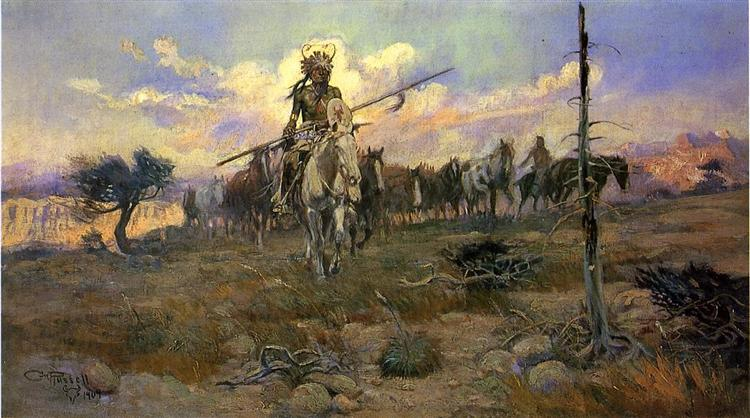 Bringing Home the Spoils, 1909 - Charles M. Russell