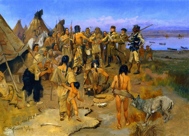 Lewis and Clark Meeting the Mandan Indians, 1897 - Charles M. Russell