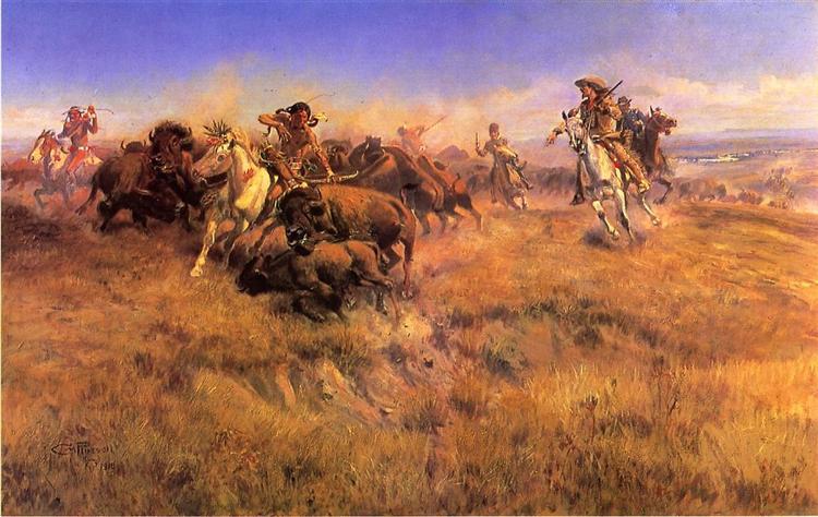 Running Buffalo, 1918 - Charles M. Russell