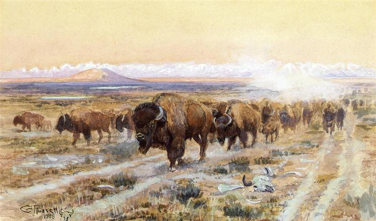 The Bison Trail, 1908 - Charles M. Russell