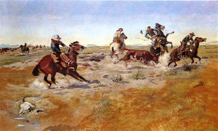 The Judith Basin Roundup, 1889 - Charles M. Russell