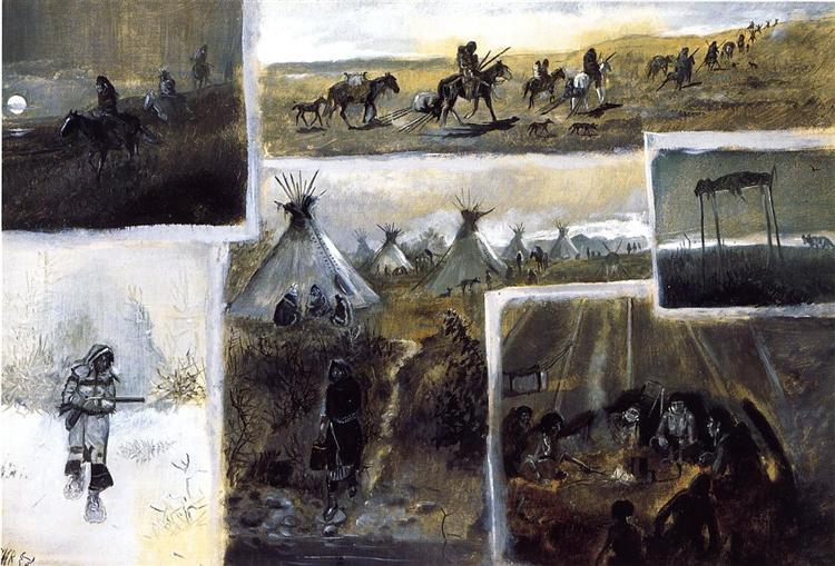 Western Montage, 1889 - Charles M. Russell