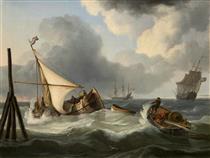 Sailboats and fishing boats on a choppy lake - Charles Martin Powell