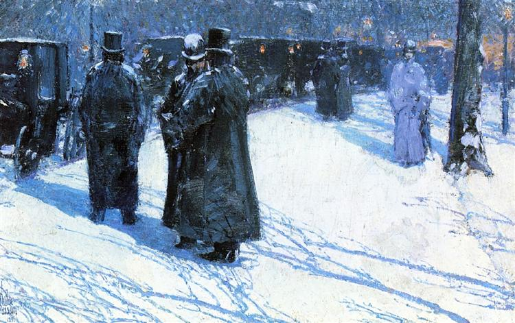 Cab Stand at Night, Madison Square, New York, 1891 - Childe Hassam