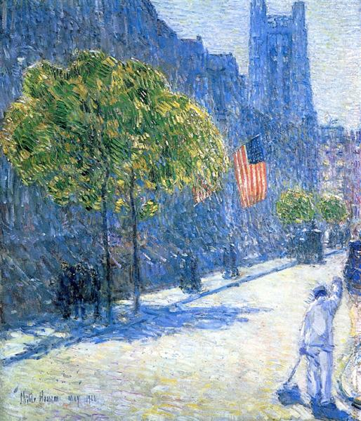 Just Off the Avenue, Fifty-Third Street, May, 1916 - Childe Hassam