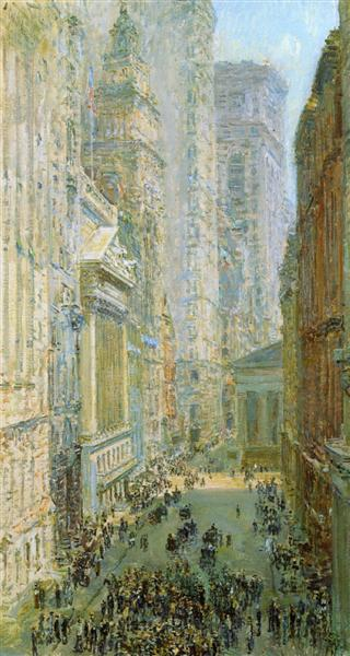 Lower Manhattan (aka Broad and Wall Streets), 1907 - Childe Hassam