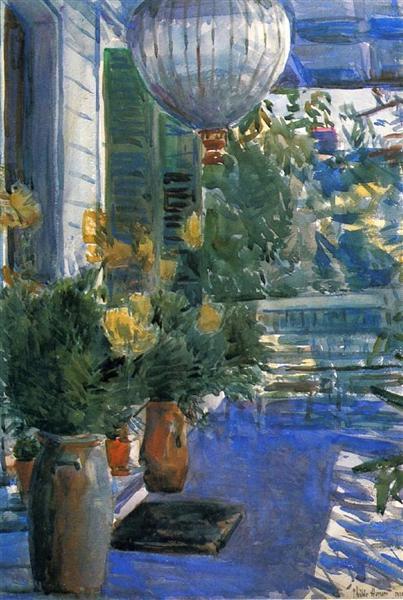Veranda of the Old House, 1912 - Childe Hassam