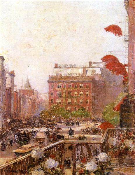 View of Broadway and Fifth Avenue, 1890 - Childe Hassam