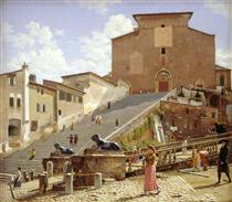 The marble staircase which leads up to S. Maria in Aracoeli in Rome - Christoffer Wilhelm Eckersberg