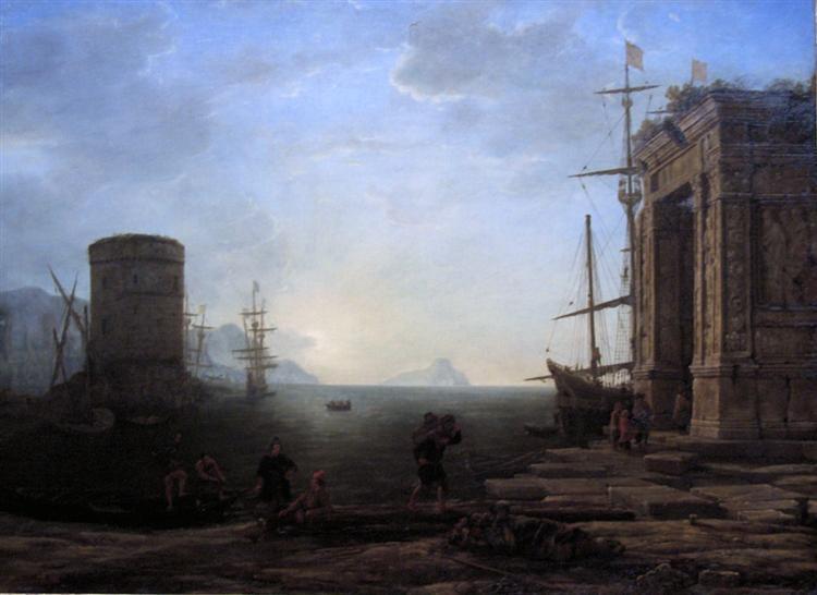 Harbour view at sunrise, c.1637 - Claude Lorrain
