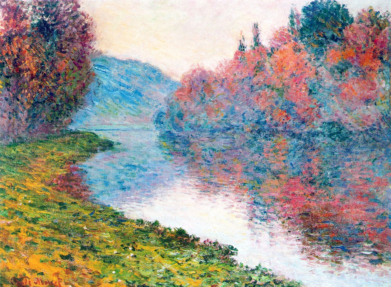 Banks of the seine at jenfosse clear weather 1884 for Claude monet artwork