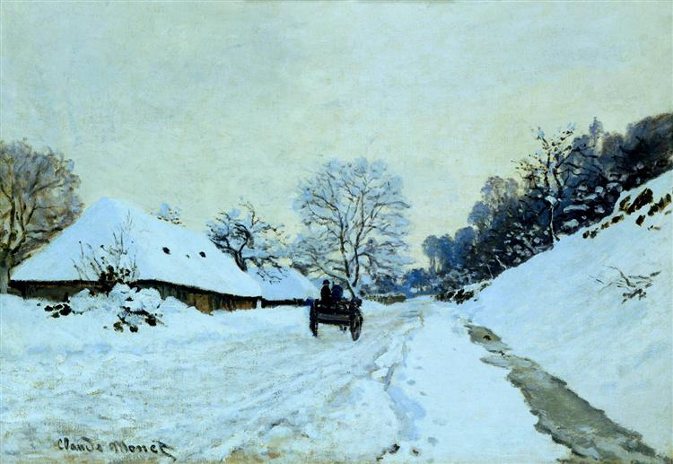 Cart on the Snow Covered Road with Saint-Simeon Farm, 1865 - Claude Monet