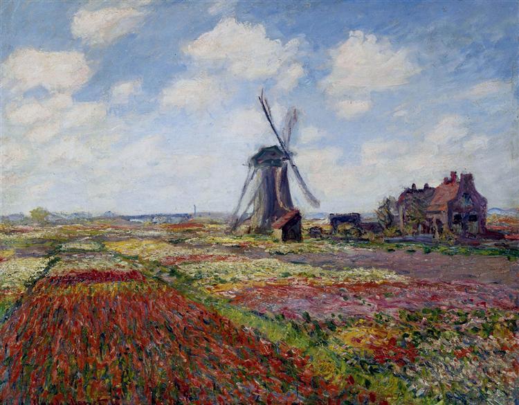 Fields of Tulip With The Rijnsburg Windmill, 1886 - Claude Monet