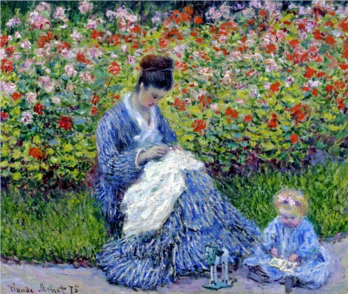 Camille Monet and a Child in the Artist's Garden in Argenteuil - Monet Claude