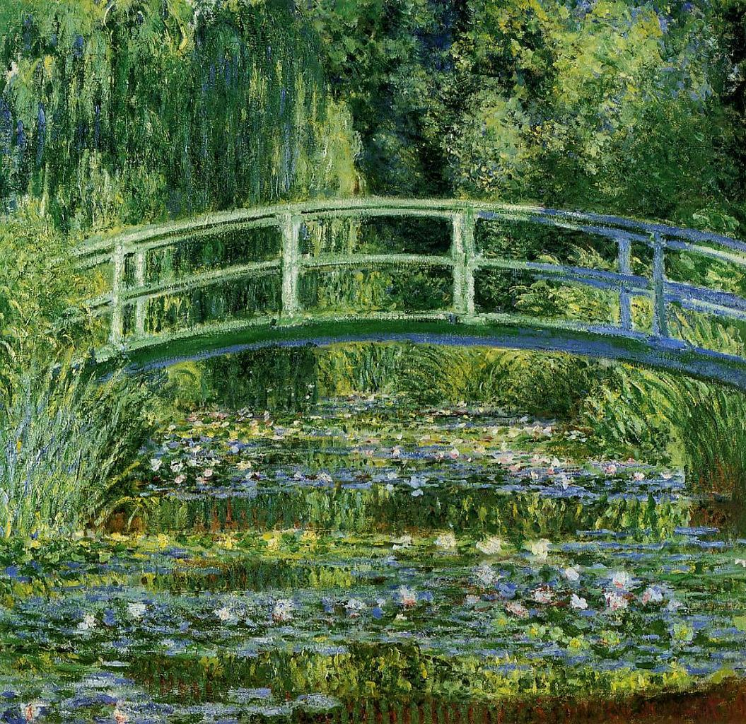 The japanese bridge the water lily pond