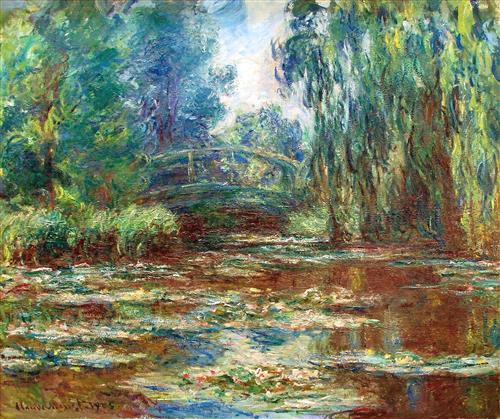 Bridge over a pond of water lillies claude monet