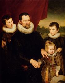 Portrait of a Nobleman and Three Children - Корнелис де Вос