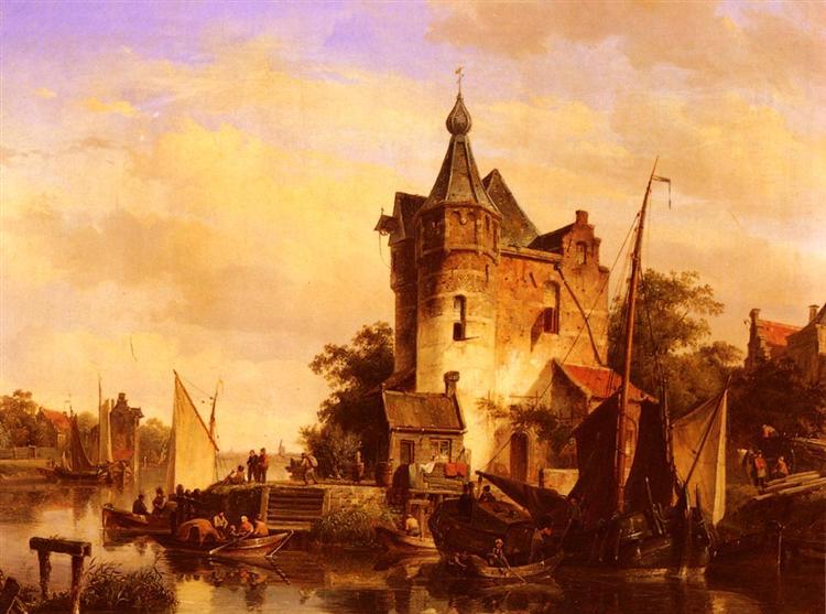 Along The Canal, 1844 - Cornelis Springer