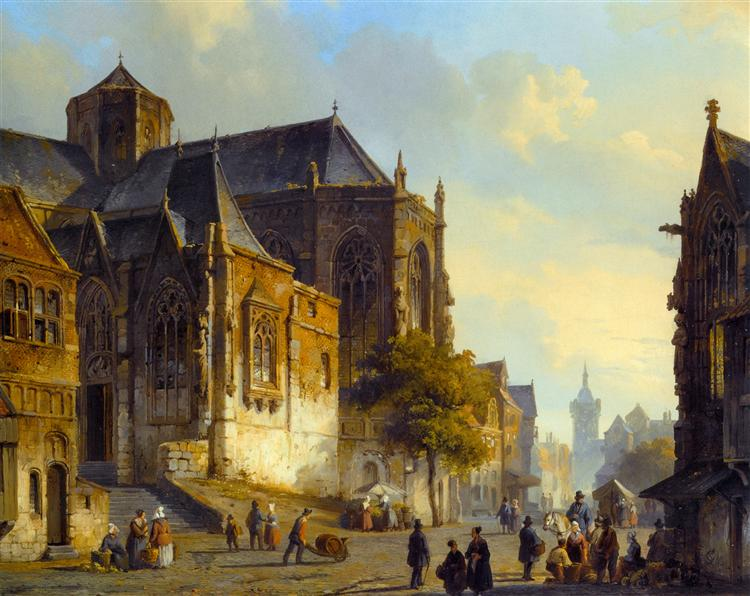 Figures on a Market Square in a Dutch Town, 1843 - Cornelis Springer